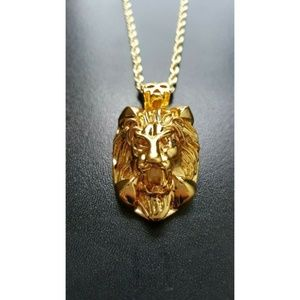 "Other - 14k Gold Lion Head Pendant Necklace 24"" Rope Chain"